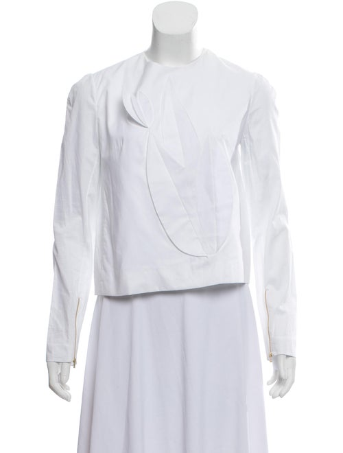 Delpozo Ruffle-Accented Long Sleeve Top White