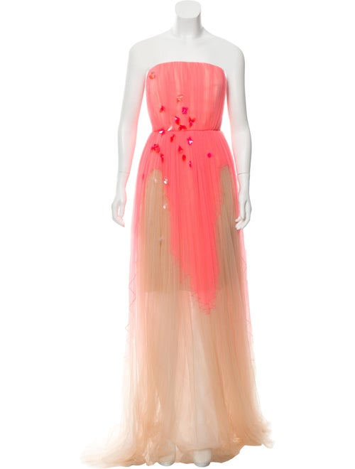 Delpozo Tulle Strapless Gown Neon
