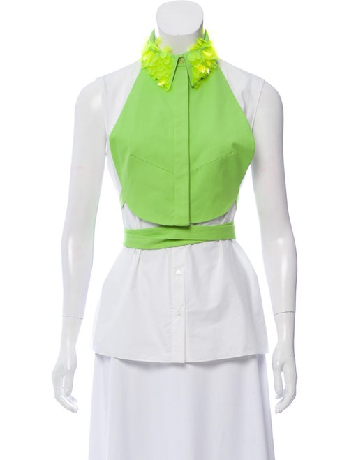 Delpozo 2018 Dickie-Accented Button-Down Top w/ Ta