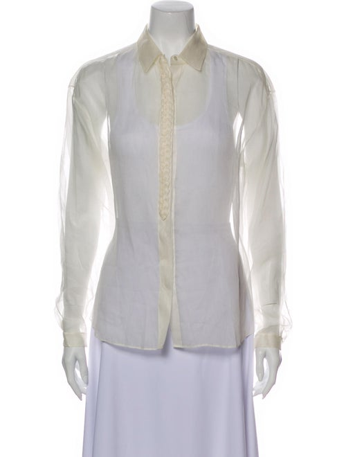 Delpozo Long Sleeve Button-Up Top