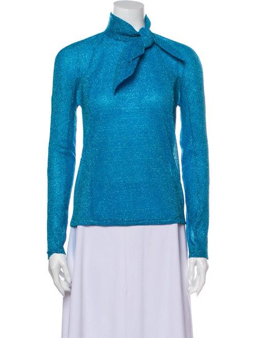 Delpozo Turtleneck Long Sleeve Top Blue