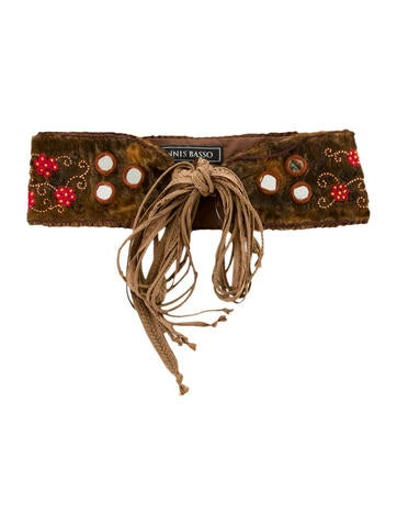 Embroidered Fur Belt w/ Tags
