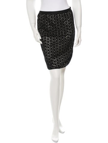 Knee-Length Eyelet Skirt