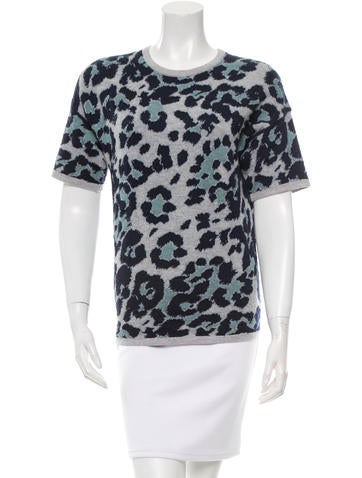Derek Lam Leopard Patterned Knit Top None
