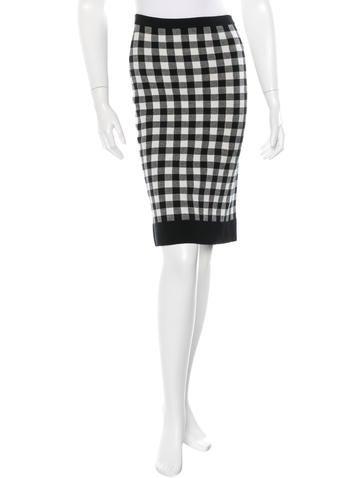 Derek Lam Knit Gingham Skirt None