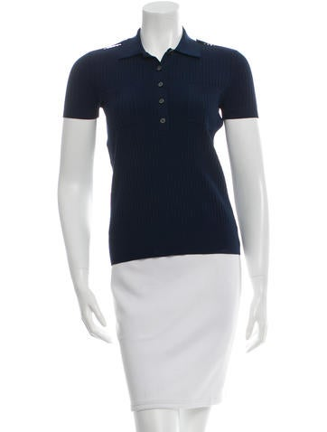Derek Lam Rib Knit Polo Top None