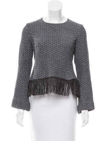 Derek Lam Fringe-Trimmed Patterned Sweater