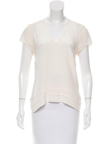 Derek Lam Silk Short Sleeve Top None