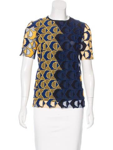 Derek Lam Crochet Short Sleeve Top None