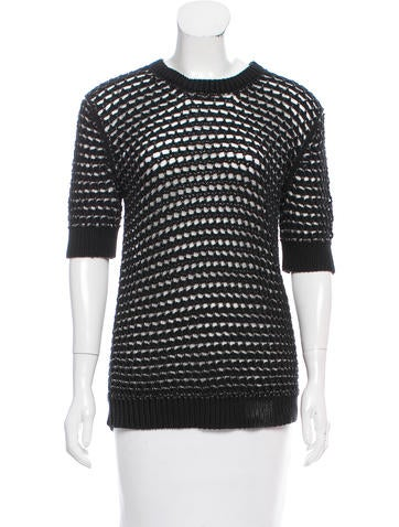 Derek Lam Mesh-Accented Knit Sweater None