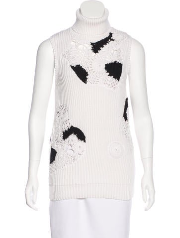 Derek Lam Crochet-Accented Turtleneck Top w/ Tags None