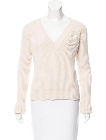 Derek Lam V-Neck Rib Knit Sweater None