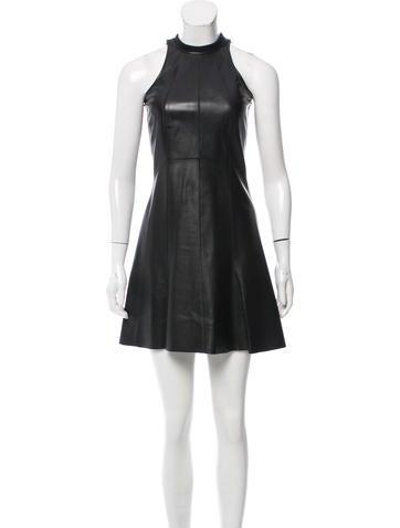 Derek Lam Leather Knit-Trimmed Dress None