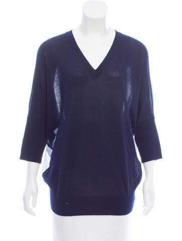 Derek Lam Silk Paneled Cashmere Sweater None
