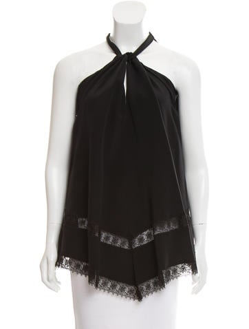 Derek Lam Sleeveless Lace-Trimmed Top None