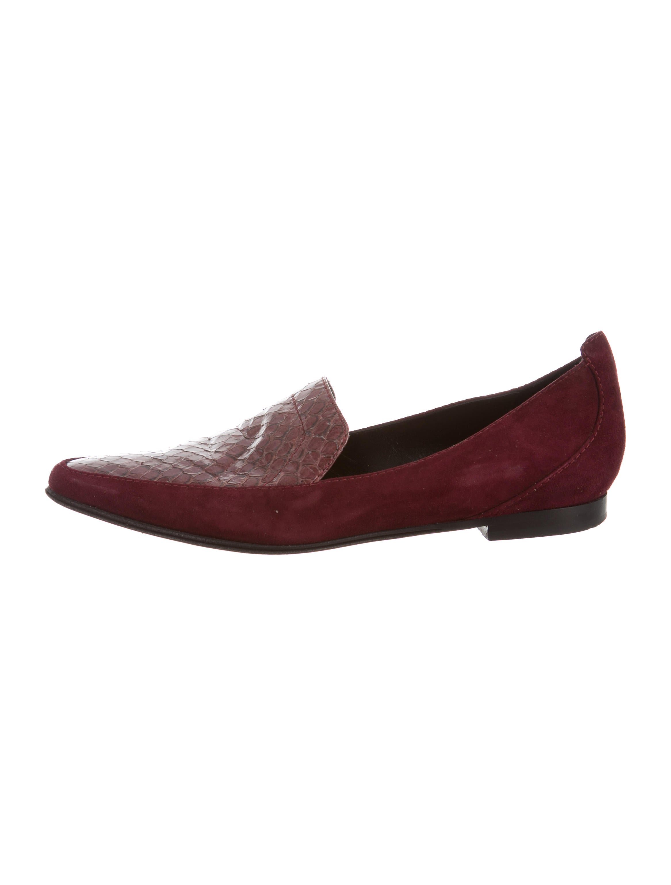 Derek Lam Snakeskin-Accented Pointed-Toe Loafers classic online E7HUu00N