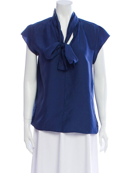Derek Lam Silk Tie Neck Blouse Blue