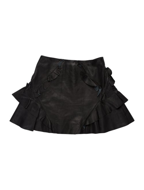 Derek Lam Lamb Leather Mini Skirt Black