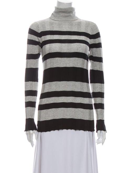 Derek Lam Striped Turtleneck Sweater Grey