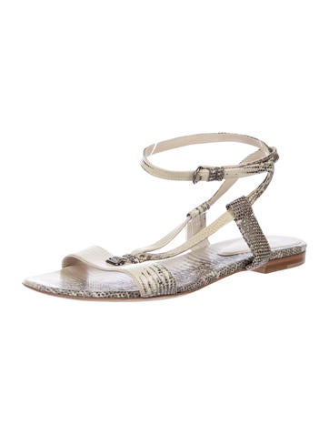 Lizard Ankle-Strap Sandals