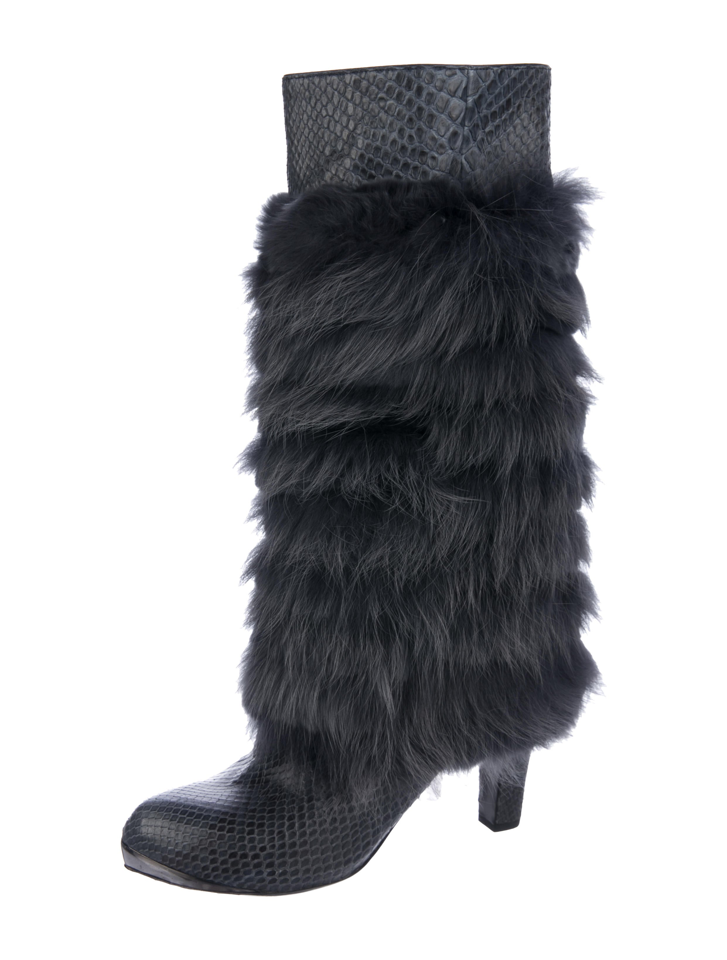 Devi Kroell Fox & Snakeskin Knee Boots cheap sale the cheapest e6gzx1HaAd