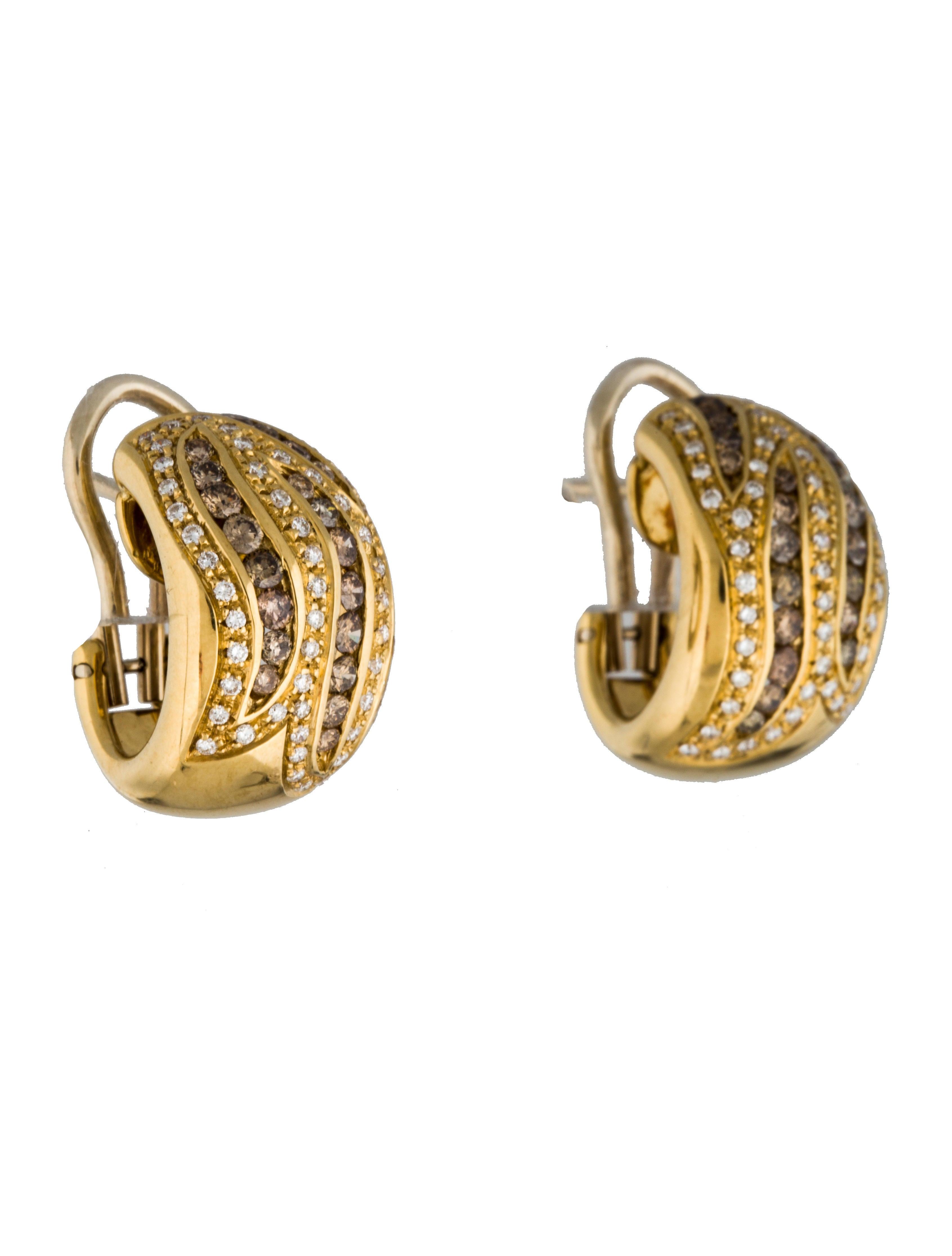 Damiani 18K Brown & White Diamond Huggie Hoop Earrings Earrings