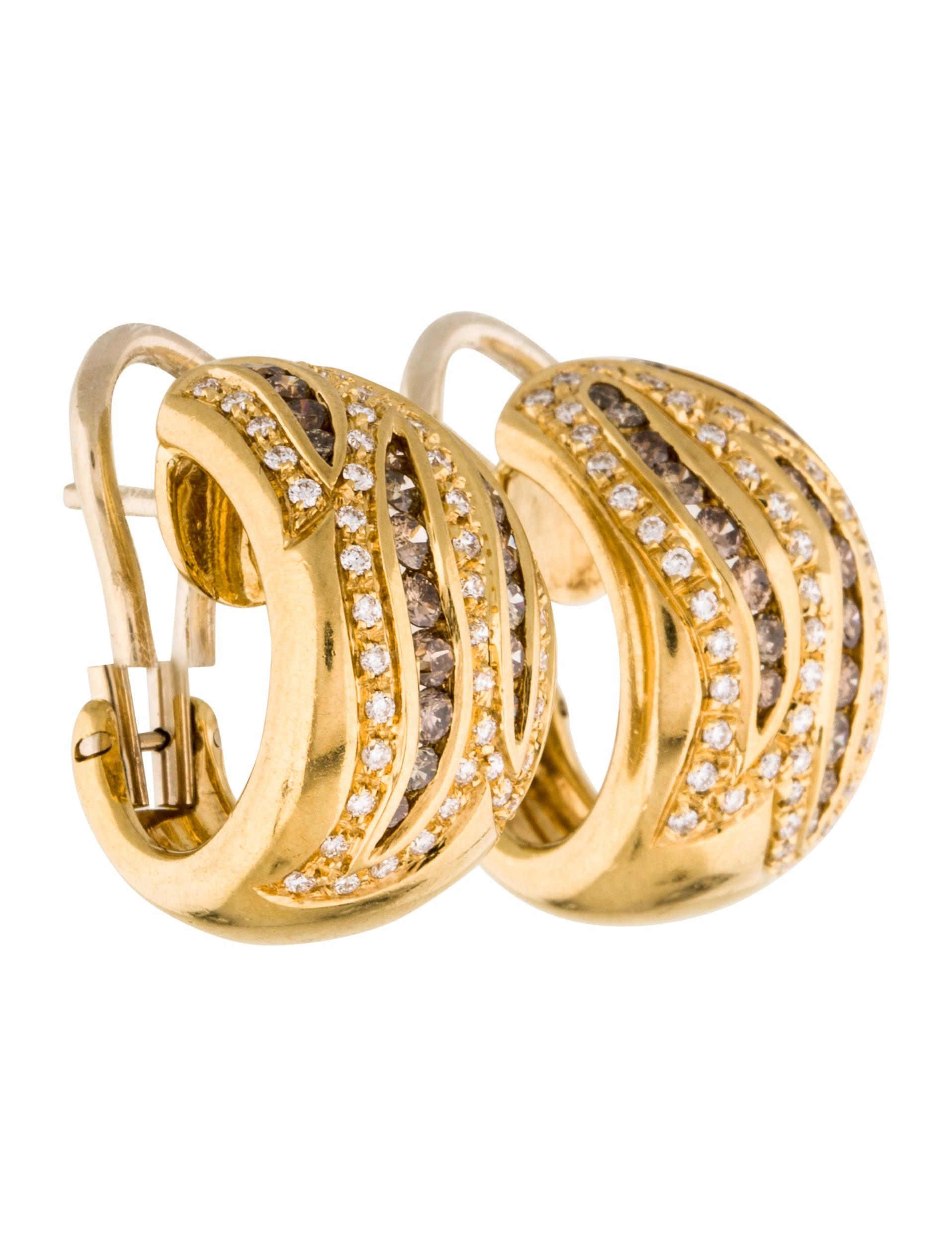 Damiani Brown & White Diamond Huggie Earrings Earrings