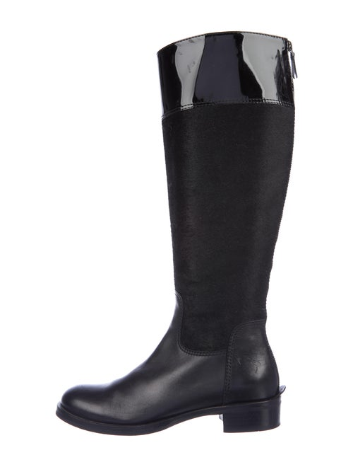 Diego Dolcini Patent Leather Riding Boots Black