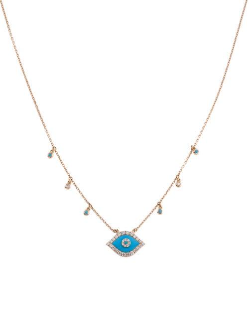 Djula 18K Turquoise & Diamond Evil Eye Pendant Nec