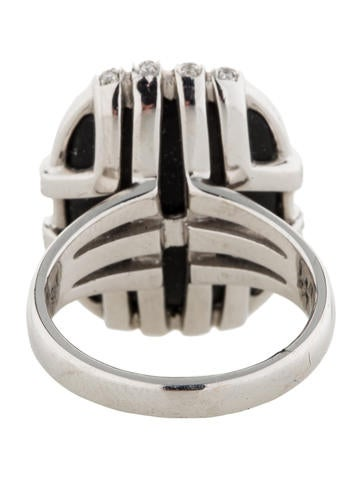 Onyx and Diamond Cage Ring