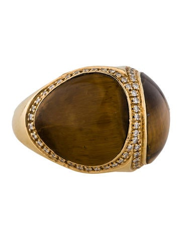Tiger's Eye and Diamond Ring