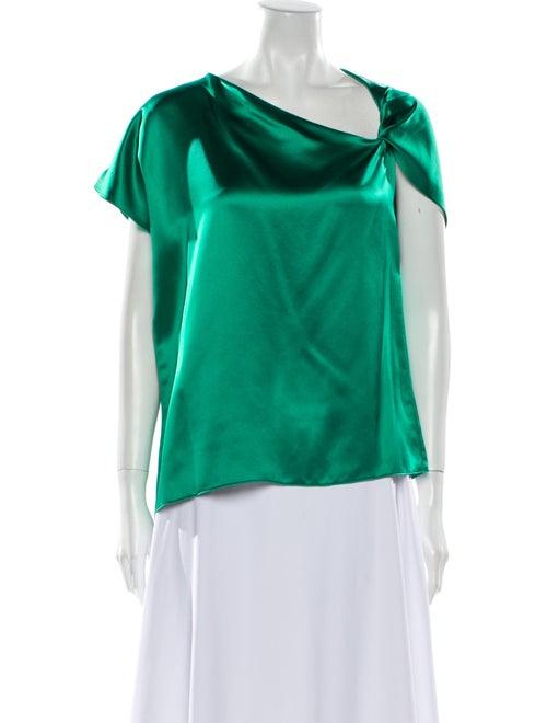 Dion Lee Silk Asymmetrical Blouse Green