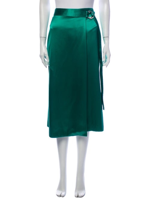 Dion Lee Silk Midi Length Skirt Green