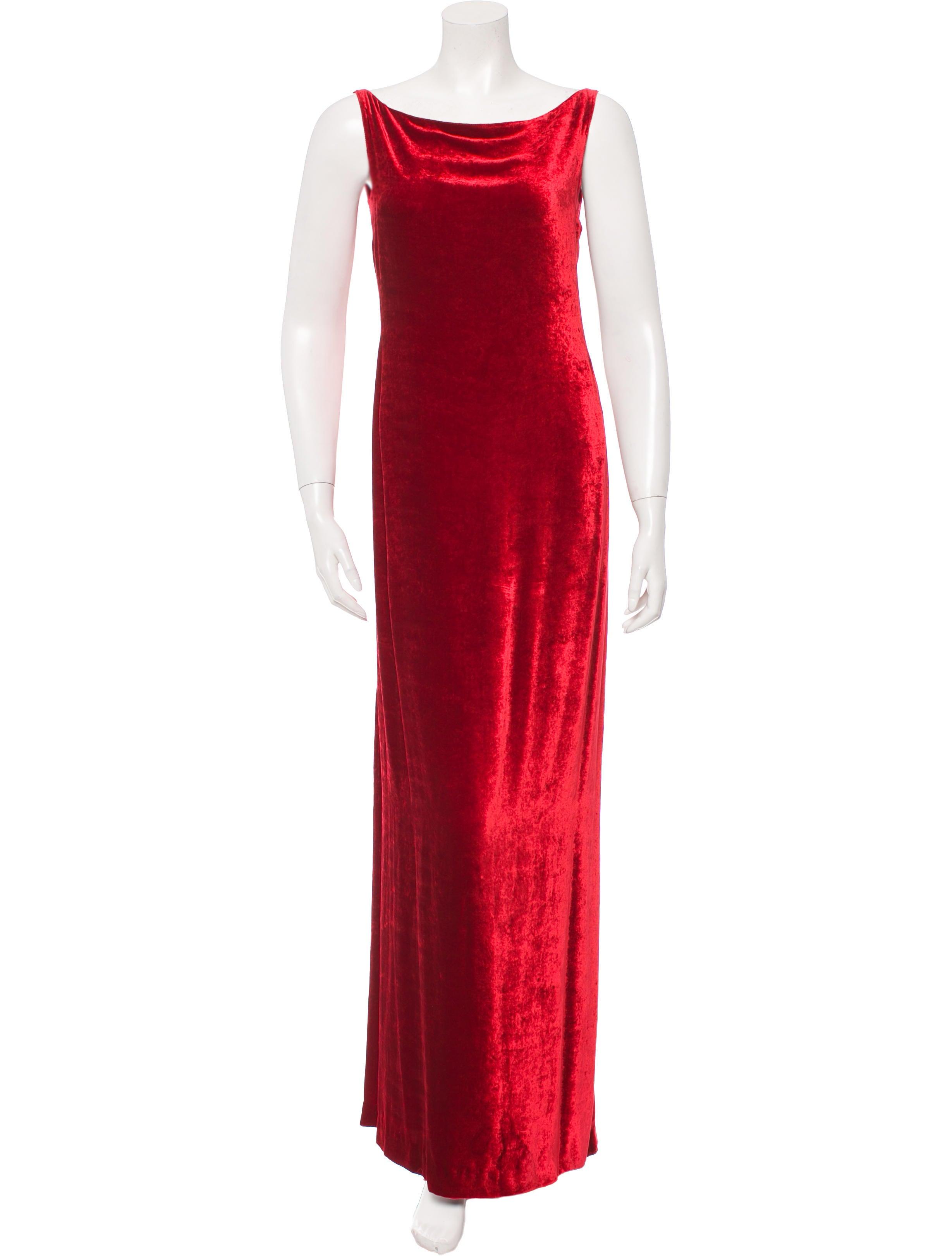 Donna Karan Crushed Velvet Evening Dress Clothing Don21187 The