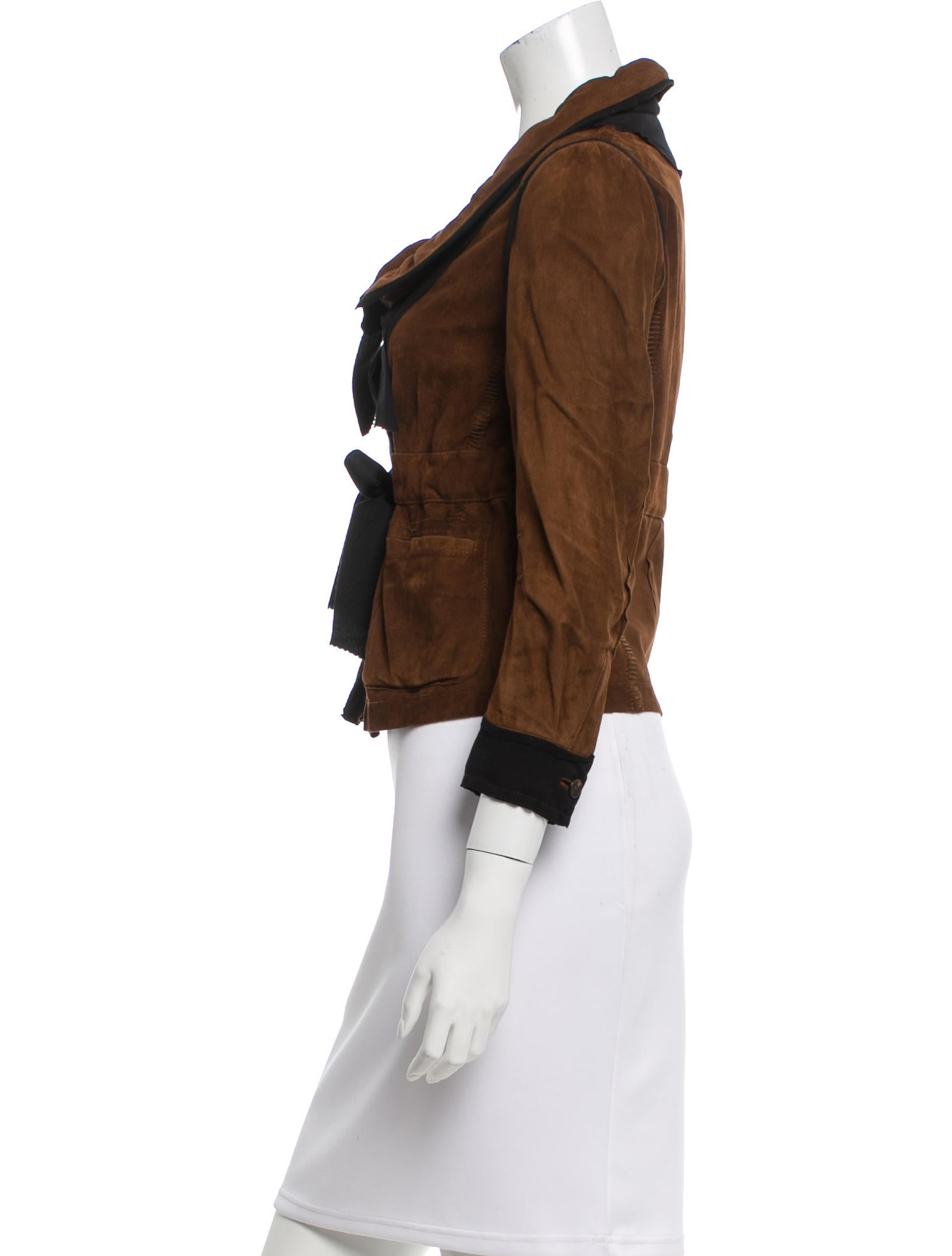 Donna Karan Suede Pointed Collar Jacket Clothing