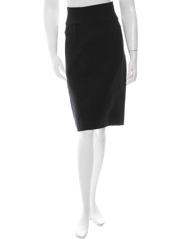 Donna Karan Wool Pencil Skirt None