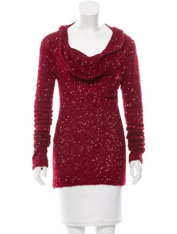 Donna Karan Sequined Cashmere Top None