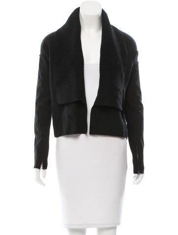 Donna Karan Suede Sleeve Cashmere Cardigan w/ Tags None