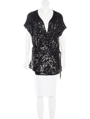 Donna Karan Cashmere & Silk-Blend Sequined Top None