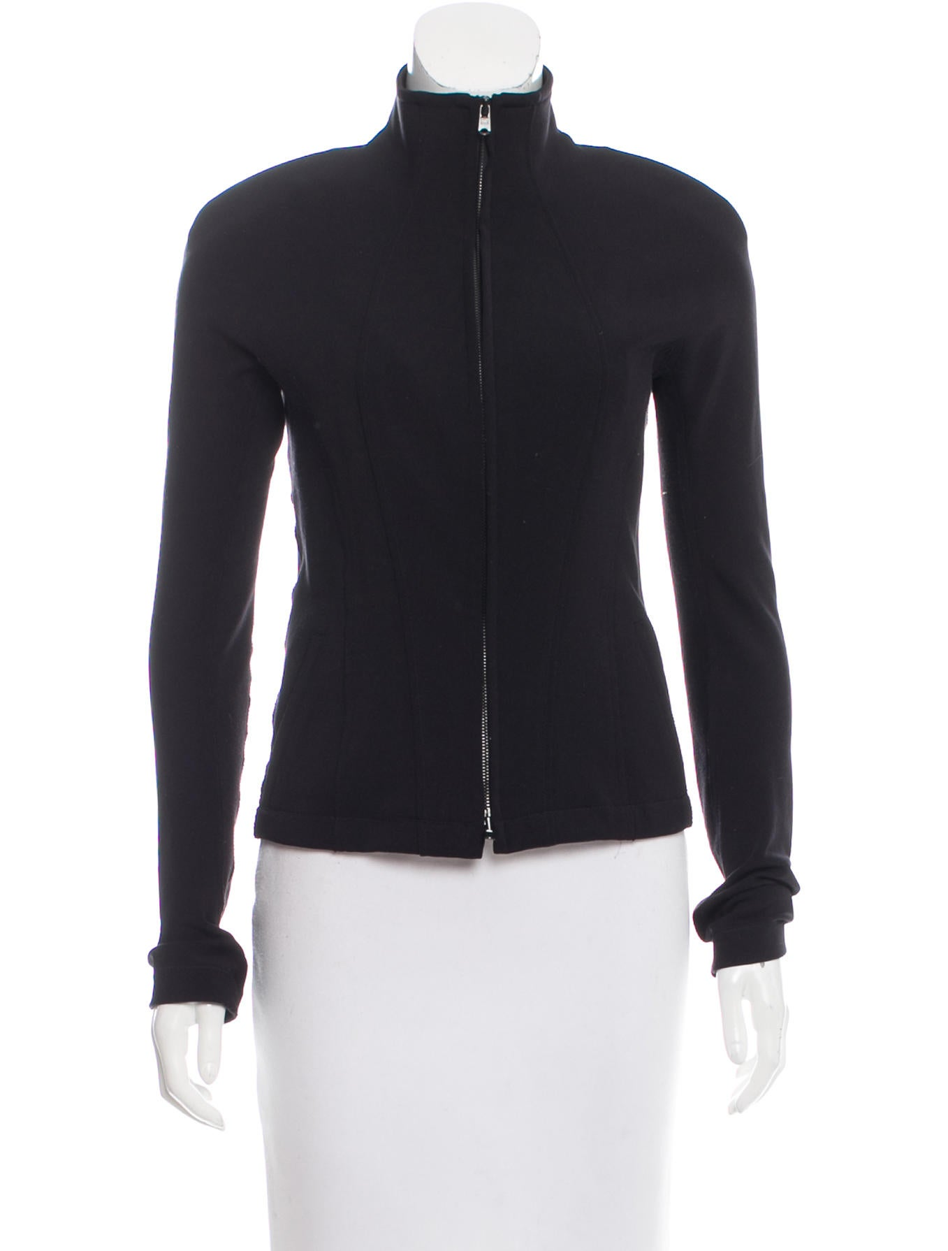 Donna Karan Mock Collar Zip Front Sweatshirt Clothing