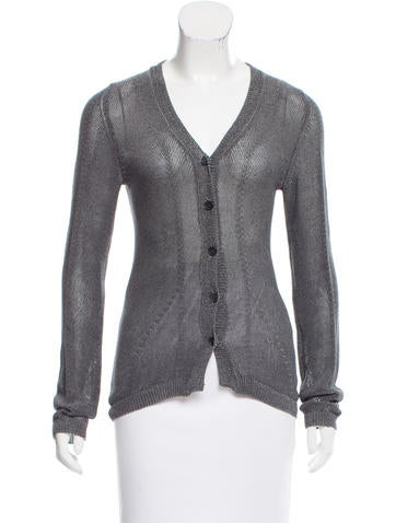 Donna Karan V-Neck Rib Knit Cardigan None
