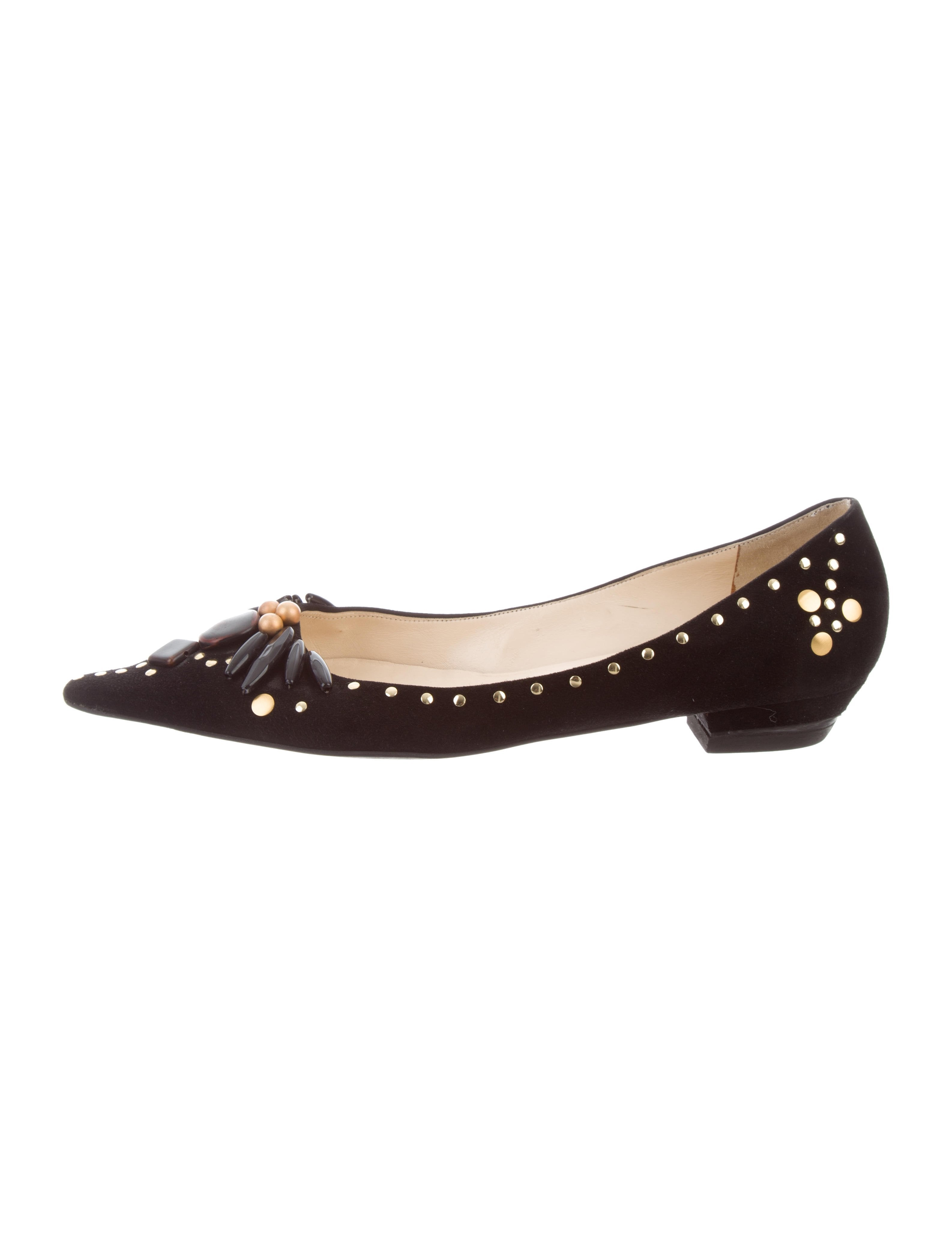 Donna Karan Embellished Pointed-Toe Flats cheap sale wiki cheap for sale CVguPeT7km