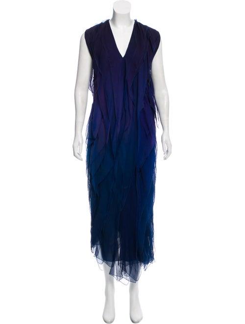 Donna Karan Silk Evening Dress Blue