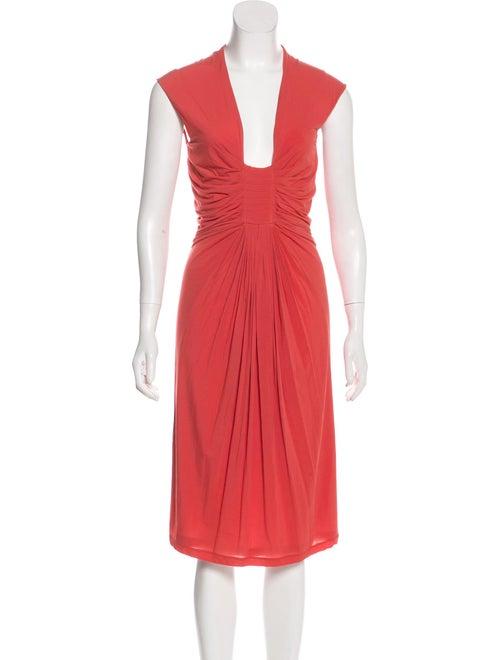 Donna Karan Sleeveless Midi Dress Coral