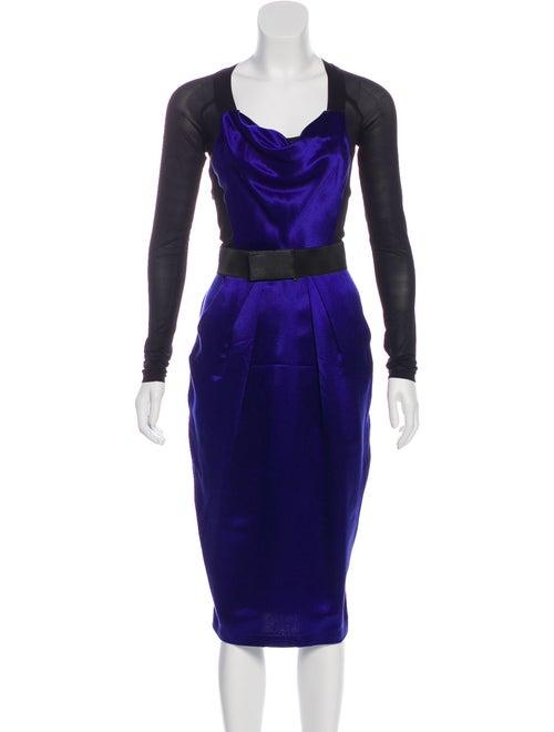 Donna Karan Midi Silk Dress Blue