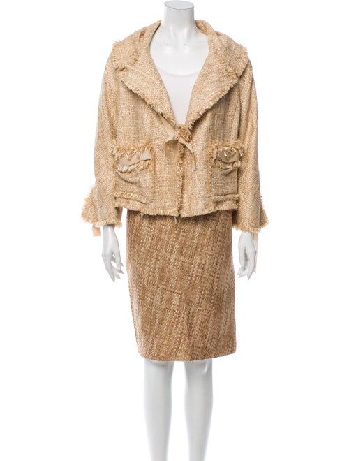 Donna Karan Silk-Blend Skirt Suit w/ Tags Tan