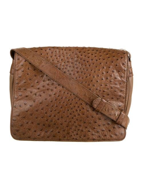 Donna Karan Ostrich Messenger Bag Brown