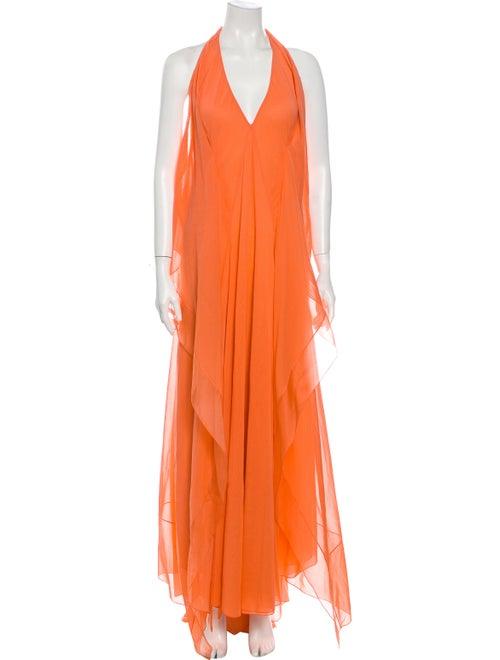 Donna Karan Silk Long Dress Orange