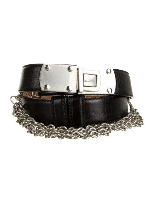 Donna Karan Leather Hip Belt Black