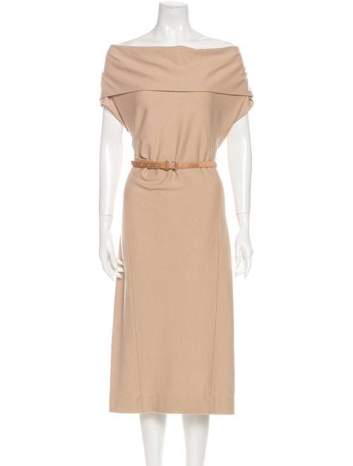 Donna Karan Wool Midi Dress Khaki